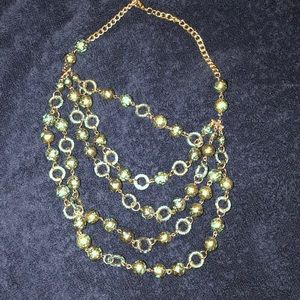Adjustable, layered gold & green bead necklace